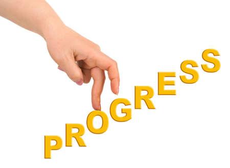 Hand und Treppen Progress isoliert auf weißem Hintergrund  Standard-Bild