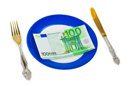 Money on plate isolated on white background photo