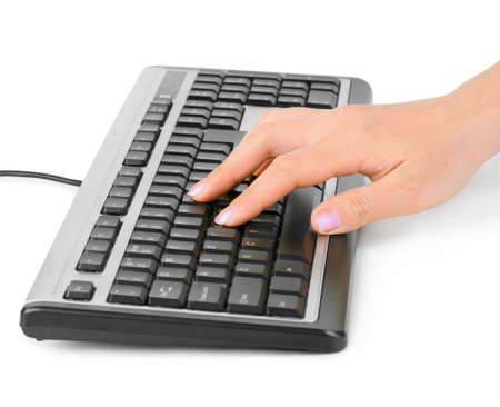 Computer keyboard and hand isolated on white background Stock Photo - 6696052