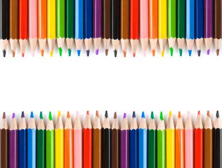 ni�os con l�pices: L�pices multicolores aislados sobre fondo blanco