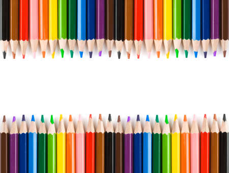 color pencils: Multicolored pencils isolated on white background