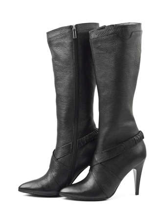 Black woman boots isolated on white background Stock Photo - 6696100