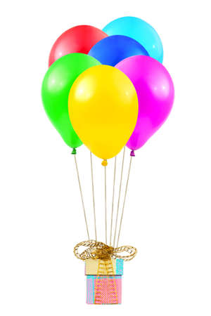 Balloons and gift isolated on white background Stock Photo - 6740610