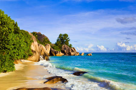 Tropical beach Source D'Argent at island La Digue, Seychelles - vacation background Stock Photo - 6968670