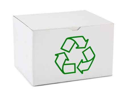 Box with recycling sign isolated on white background photo