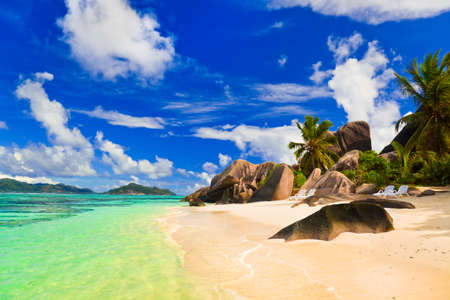 argent: Beach Source dArgent at island La Digue, Seychelles - vacation background Stock Photo