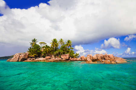 desert island: Tropical island at Seychelles - nature background Stock Photo