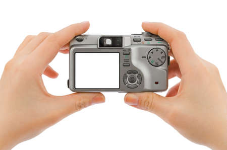 camera in hands isolated on white background photo