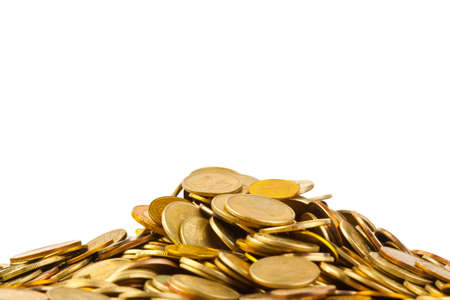 cuve: Heap of coins isolated on white background