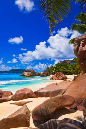 architecture bungalow: Tropical beach at Seychelles - nature background