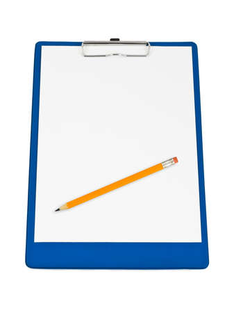 Clipboard and pencil isolated on white background photo
