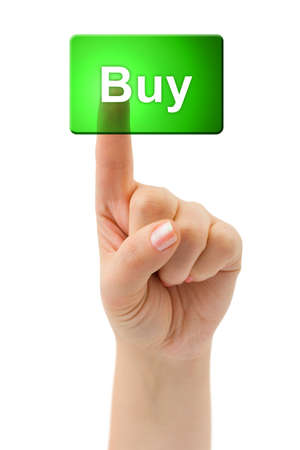 online trading: Hand and button Buy isolated on white background