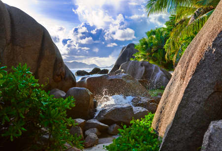 Tropical beach Source D'Argent at Seychelles - vacation background Stock Photo - 7084336