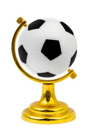 ball like: Soccer ball like a globe isolated on white background Stock Photo