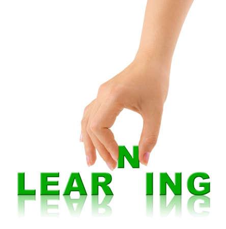 Hand- en woord Learninig - onderwijs concept  Stockfoto