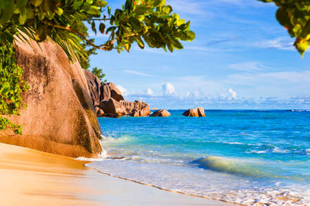 Tropical beach Source D'Argent at Seychelles - vacation background Stock Photo - 7184621