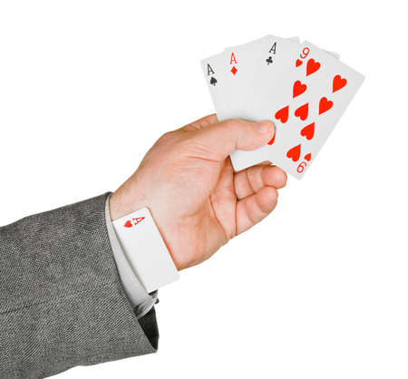 swindler: Hand and card in sleeve isolated on white background Stock Photo