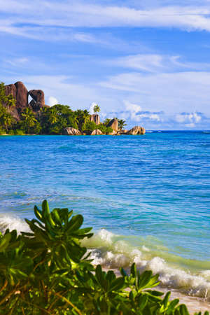 Tropical beach Source D'Argent at Seychelles - nature background Stock Photo - 7199754
