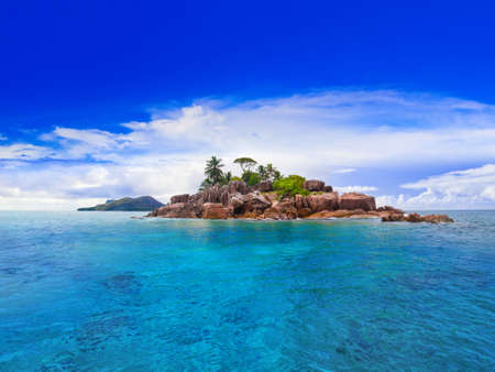 caribbean island: Tropical island at Seychelles - nature background Stock Photo