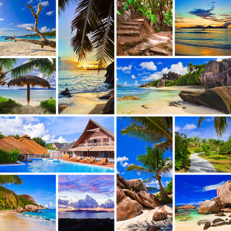 Collage of summer beach images  - nature and travel background (my photos) Stock Photo