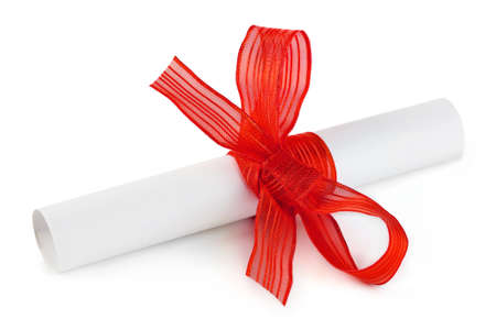 Paper scroll and bow isolated on white background photo