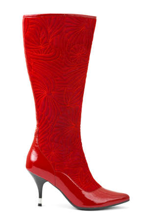Red woman boot isolated on white background photo