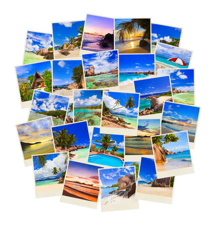 Stack of summer beach shots  - nature and travel background (my photos) photo