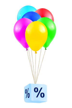 Multicolored balloons with percentage isolated on white background photo
