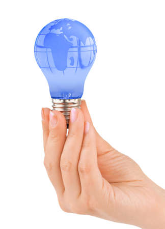Hand and lamp with globe isolated on white background photo