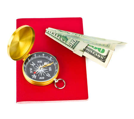 Passport, compass and money plane - travel concept isolated on white background Stock Photo - 7419165