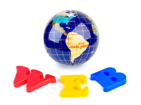 Globe and word WEB isolated on white background photo