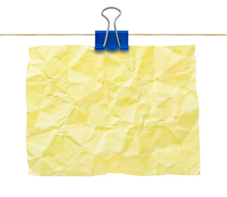creasy: Yellow crumpled note paper isolated on white background Stock Photo