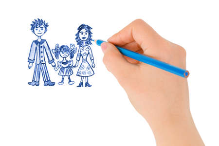 Hand drawing happy family (my original drawing) isolated on white background