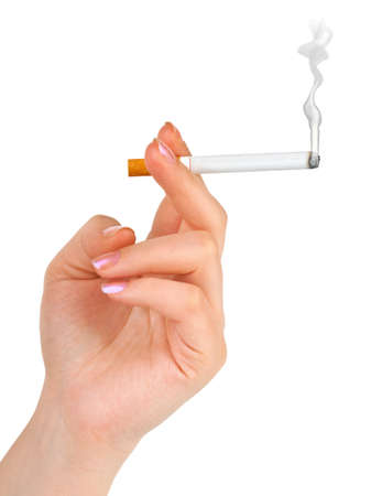 Hand with cigarette isolated on white background photo