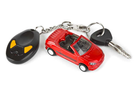 rental house: Coche de juguete y claves aisladas sobre fondo blanco  Foto de archivo