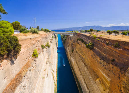 Corinth channel in Greece - travel background photo