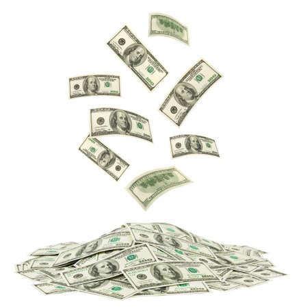 dinero volando: Dinero ca�da aislada sobre fondo blanco