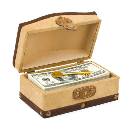 Money and key in box isolated on white background Stock Photo - 7675592