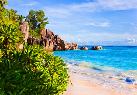 Tropical beach Source D'Argent at Seychelles - vacation background Stock Photo - 7675597