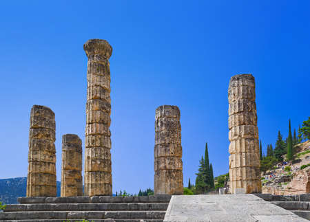 Ruins of Apollo temple in Delphi, Greece - archaeology background Stock Photo - 7716287