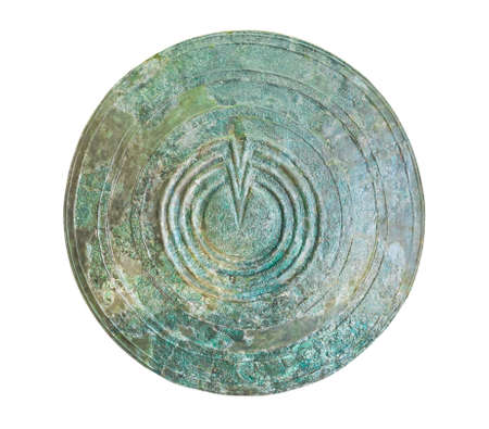 Bronze shield in Delphi museum, Greece isolated on white background photo