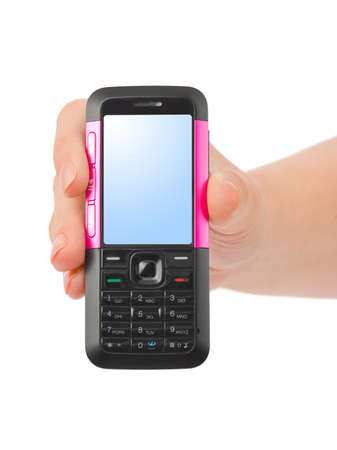 wireles: Hand giving mobile phone isolated on white background