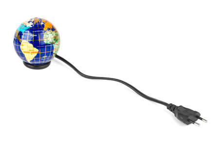Globe and electrical cable isolated on white background Stock Photo - 7774866