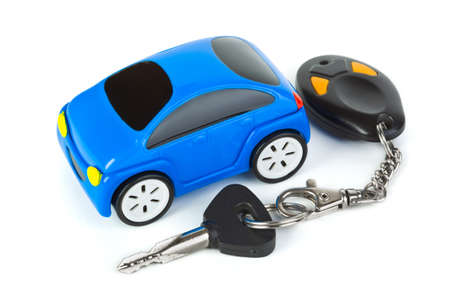 Toy car and keys isolated on white background Stock Photo - 7805764