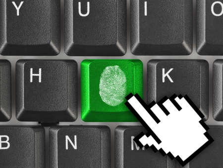 Computer keyboard with fingerprint - security concept Stock Photo - 7805737
