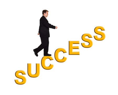 Businessman and stairs Success isolated on white background Stock Photo - 7805727