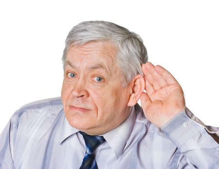 audition: Mężczyzna w nasłuchiwania stanowią odizolowane na białym tle