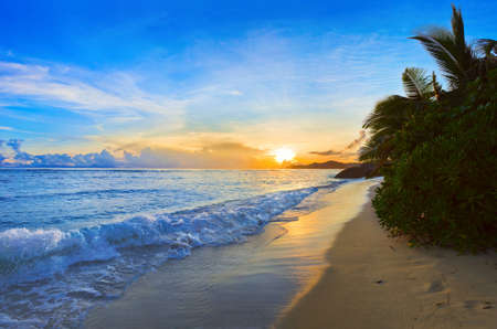 Tropical beach at sunset - nature background Stock Photo