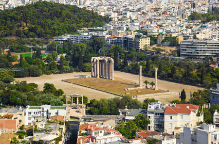 Temple of the Olympian Zeus at Athens, Greece - view from Acropolis photo