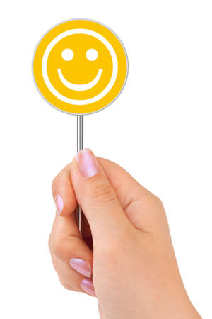 Smile sign in hand isolated on white background Stock Photo - 7863058